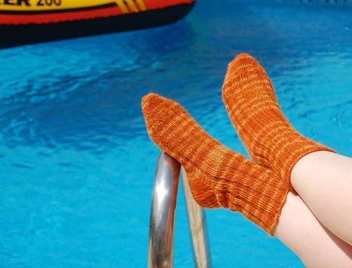 Finished orange dk comfy socks