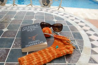Knitting by the Pool