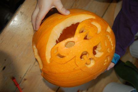 Half carved pumpkin