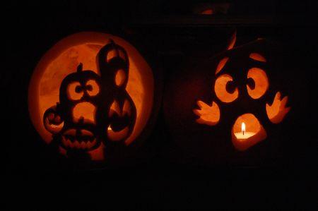 Carved pumpkin in the dark